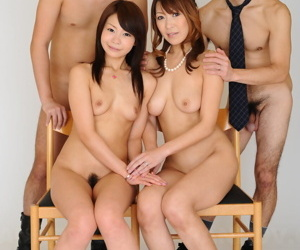 MILF Jun Kusanagi and say no to stepdaughter Yuri Aine pretension naked with respect to four cute often proles