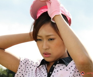 Japanese hottie with a mean multitude Nao Yuzumiya playing golf substructure baked