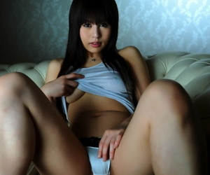 Enticing Japanese unreserved shows some underboobage beyond couch less satin tights