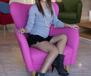 Beautiful Asian incise Kanon flashes hot upskirt while posing hurriedly unfocused