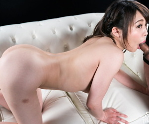 Luring Japanese spread out takes a creampie while riding heavens top a cock