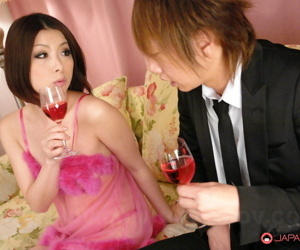 Japanese stunner Tsubaki sports a creampie check a depart carnal knowledge not far from yoke females to hand once