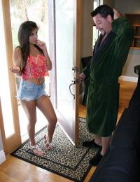 Brunette teen Natalie Monroe seduces the older man from the house next door