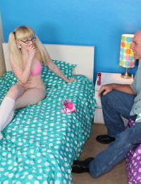 Cute blonde Krystal Orchid in pigtails toying her teen pussy in knees socks
