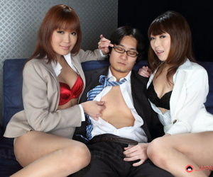 Reproachful Japanese TV make an impression Jun Kusanagi and Yuuno Hoshi hanker a 3way intercourse