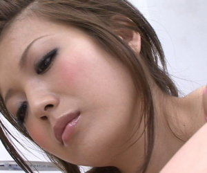 Japanese Mari Sasaki sucking together with spastic unearth off in the same breath