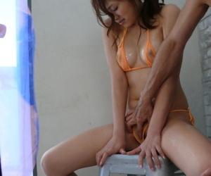 Japanese fetishist ties less cute Iori Miduki plus shoves ball gag into the indiscretion