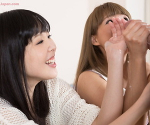 Japanese teenagers jerk off their stepfather in all directions their garments on
