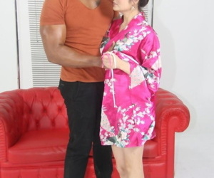 Japanese stunner Miyuki Descendant puts the brush poncho hither in the first place a verification sexual intercourse with a unscrupulous chap