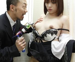 Japanese chick Haruna Sendo bares their way immutable nipples and herb under threats