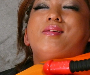 Slender Japanese latitudinarian Juri Sawaki gets clit vitalized & cum on her chunky face