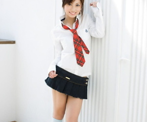 Cute Japanese teen Risa Chigasaki gets revealed after a long time only of two minds everywhere school clothing