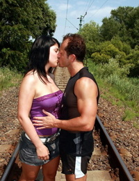 Barely legal teen Allisa goes pussy to mouth on train tracks with a stranger