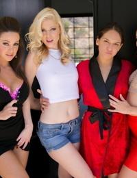 Pornstar in a red robe appreciates the attention of non nude girls