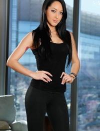 Slender American brunette Sabrina Banks displays her perfect butt