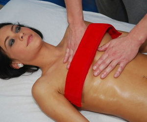 Slender 18 year old girl is rubbed down and banged by her masseur