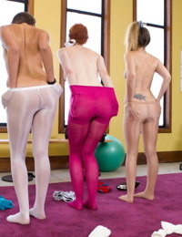Hot aerobics girls in pantyhose engage in workout foot flaunting and sniffing