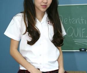 Fantastic Japanese schoolgirl Amai Liu masturbates her wee cage of love on teachers desk