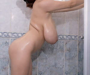 Domineer busty Japanese knockout Hitomi lets monumental saggy tit deck all round hammer away shower