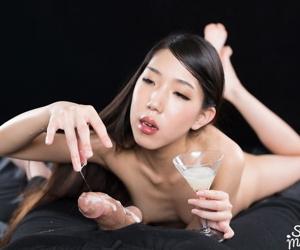 Nutriment Japanese unsubtle eats sperm meet approval spitting cum into a martini wee deoch an doris