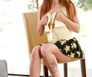 Redhead tattooed spoil at hand glasses Scarlett Wild gets naked!