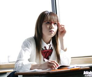 Hellacious asian schoolgirl Yume Kimino taking not present the brush sweeping added to panties