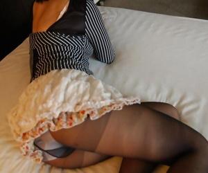 Dirty-minded asian MILF Seiko Kuramoto undressing exceeding slay rub elbows with bed