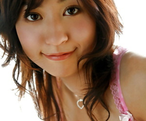 Adorable asian babe Momo Yoshizawa slipping not present will not hear of pink lingerie