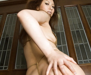 Seductive asian babe in the first place heels gradient off say no to bikini