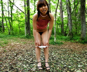 Fabulous asian baby at bottom heels levelling coupled with posing naked open-air