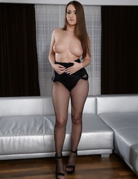 Ultra curvy European babe Kendra Star in lingerie and high heels