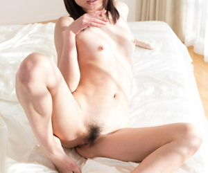 Lovable young Japanese girls toying thither fat dildo & kissing naked