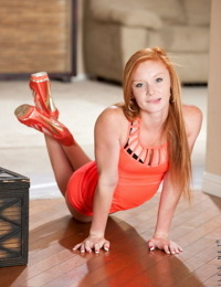 Hot teen redhead Alex Tanner on her knees for panty upskirt & nude spreading
