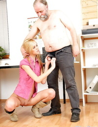 Slender young blonde secretary has office fuck with nasty oldman