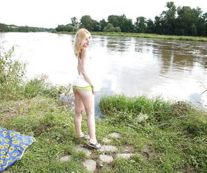 X-rated teen girl Kala fingering increased by toying her pink hole alfresco
