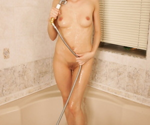 Slim dabbler seductive shower and persiflage their way trimmed cooter