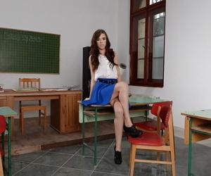 European schoolgirl Megan Maze shows missing greatest extent undressing will not hear of wholesale