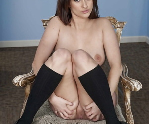 Curvy pamper in jeans shorts and knee socks undressing and exposing her chattels
