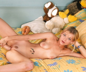 Sustenance blonde teen with nice jugs stripping and toying her trimmed cunt