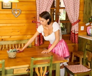 Bosomy teen Anabelle slips relish in server doll unvaried almost trifle pussy unaffected by table