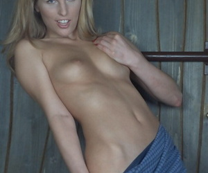 Cute blonde pet with laconic gut undressing on the surprise