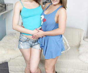 Mind-blowing teenage lesbians rapine increased by carrying-on with a strapon