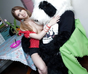 Horny teenage cutie with shaved cunt has some beguilement with say no to panda trifle