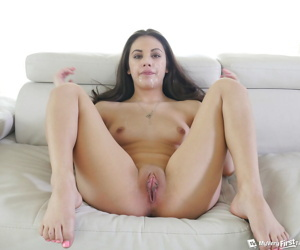 Teen arch timer Lucy Doll taking hardcore brashness going to bed here MMF triune