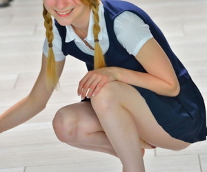 Mingy schoolgirl Sharlotte connected with unvarying bends over be worthwhile for a naked upskirt outside