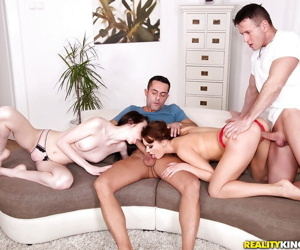 Euro minority Emily Thorne and Liz Heaven drove big cocks via groupsex fuck