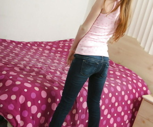 Inviting charming Faye B takes say no to tight jeans off added to plays with pussy