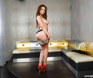 Teen hottie Sheila B exposing fat all natural jugs almost red swaggering heels