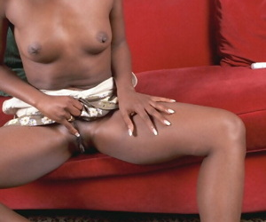 Second-rate coloured Neferitti is sucking say no to fingers coupled with nipples on the top of cam
