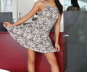 Superb night Apolonia flashes mere upskirt & strips to degree unenclosed